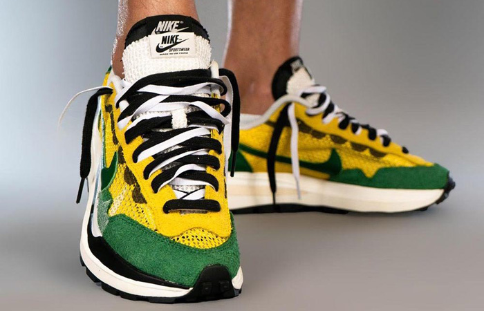 Sacai Nike Vaporwaffle Tour Yellow Gorge Green Sail CV1363-700 on foot 02