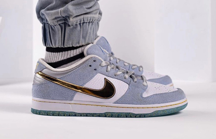 Sean Cliver Nike SB Dunk Low White Psychic Blue DC9936-100 on foot 02