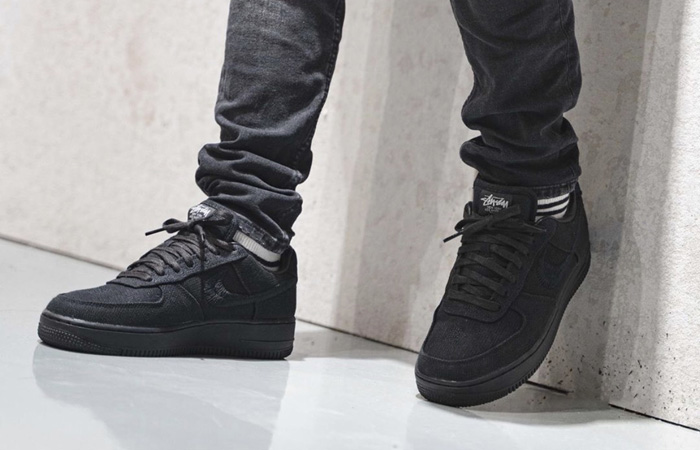 Stussy Nike Air Force 1 Low Core Black CZ9084-001 on foot 02