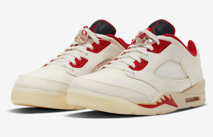 Air Jordan 5 Low Chinese New Year Pearl White Chile Red DD2240-100 02