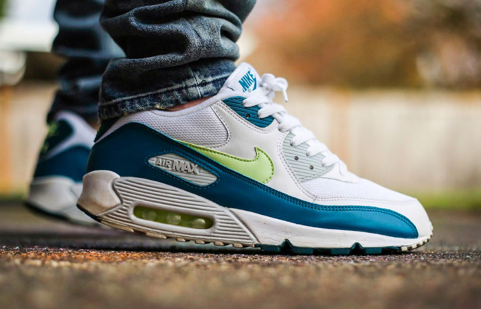 Nike Air Max 90 Spruce Lime White CZ2908-100 on foot 01