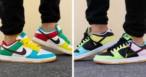 """On Feet Images Of The Upcoming Nike Dunk Low """"Free 99 Pack"""""""