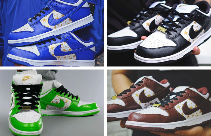 Supreme Nike SB Dunk Low Stars Pack Is Coming In Four Colorways ft