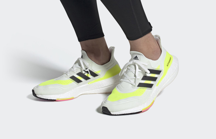 adidas Ultra Boost 21 Cloud White Solar Yellow FY0377 on foot 01
