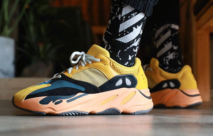 adidas Yeezy Boost 700 V1 Sun Yellow Orange GZ6984 on foot 01