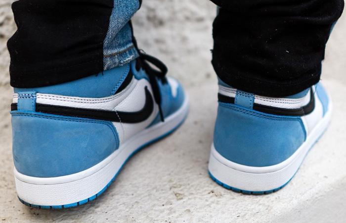Air Jordan 1 High Black University Blue 555088-134 on foot 03