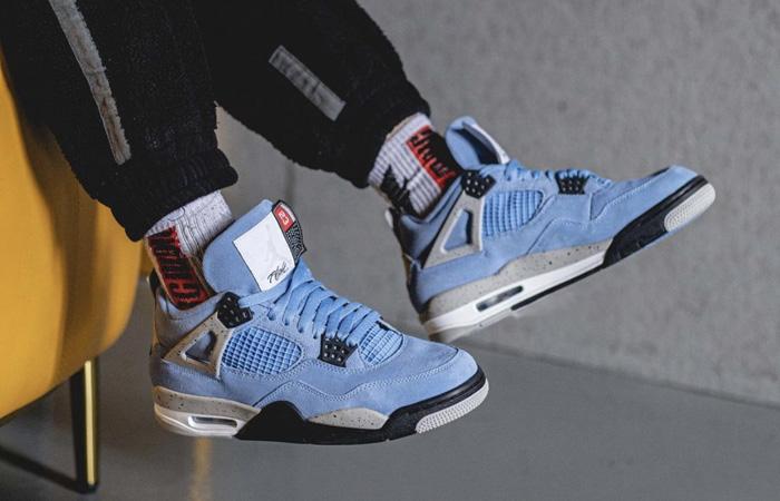 Air Jordan 4 University Blue Black CT8527-400 on foot 01