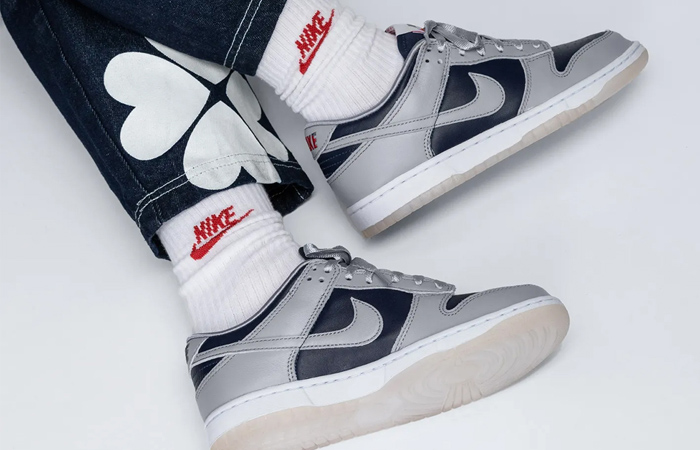 Nike Dunk Low College Navy Wolf Grey Womens DD1768-400 on foot 01