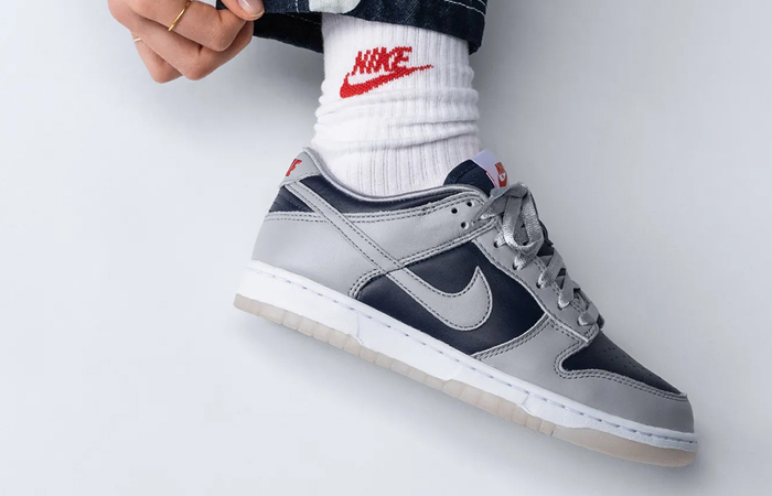 Nike Dunk Low College Navy Wolf Grey Womens DD1768-400 on foot 02
