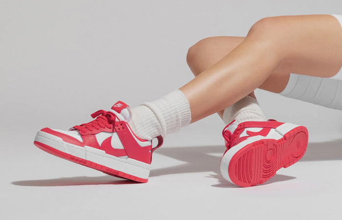 Nike Dunk Low Disrupt Siren Red White Womens CK6654-601 on foot 01