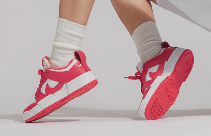 Nike Dunk Low Disrupt Siren Red White Womens CK6654-601 on foot 02