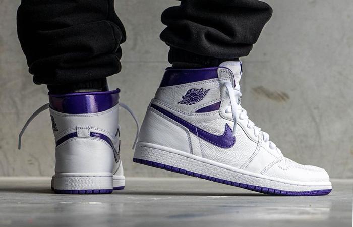 Air Jordan 1 High White Court Purple Womens CD0461-151 onfoot 01