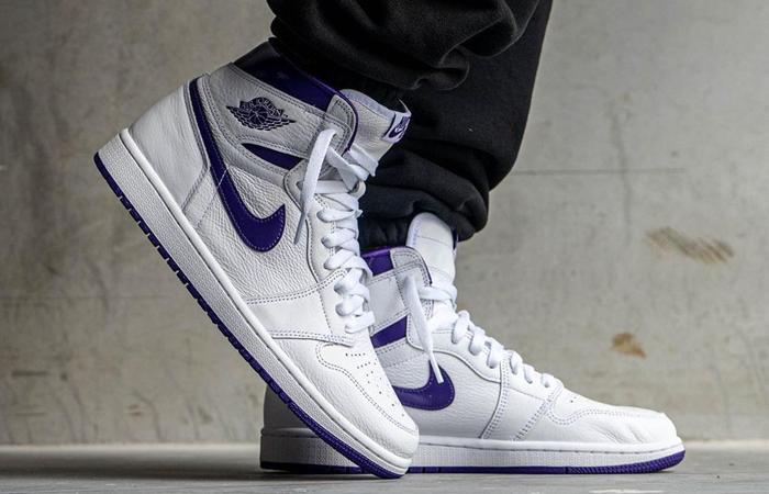 Air Jordan 1 High White Court Purple Womens CD0461-151 onfoot 02