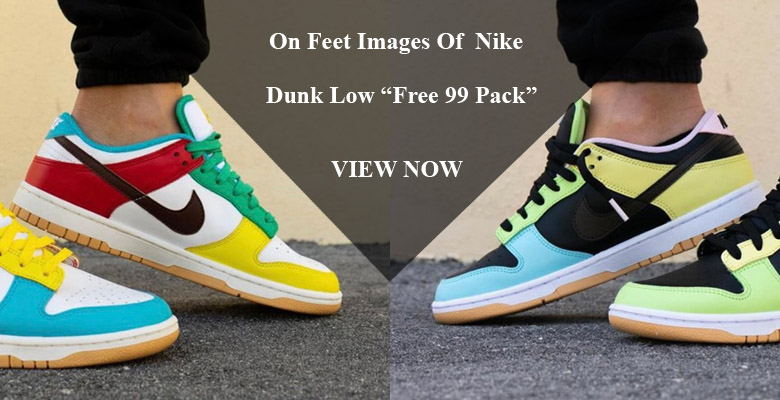 """On Feet Images Of The Upcoming Nike Dunk Low """"Free 99 Pack"""" Slider"""