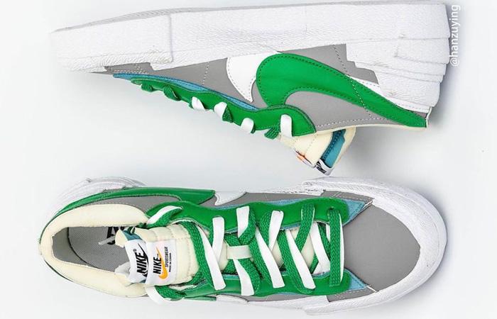 Sacai Nike Blazer Low Medium Grey Classic Green DD1877-001 04