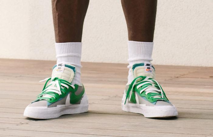Sacai Nike Blazer Low Medium Grey Classic Green DD1877-001 on foot 01