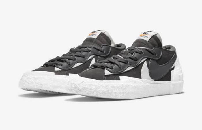 sacai Nike Blazer Low Dark Grey White DD1877-002 front corner