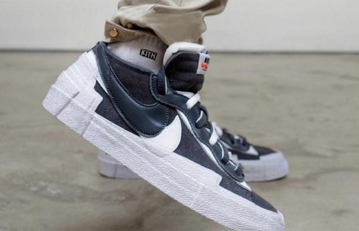 sacai Nike Blazer Low Dark Grey White DD1877-002 onfoot 02
