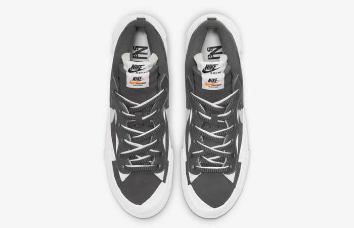 sacai Nike Blazer Low Dark Grey White DD1877-002 up