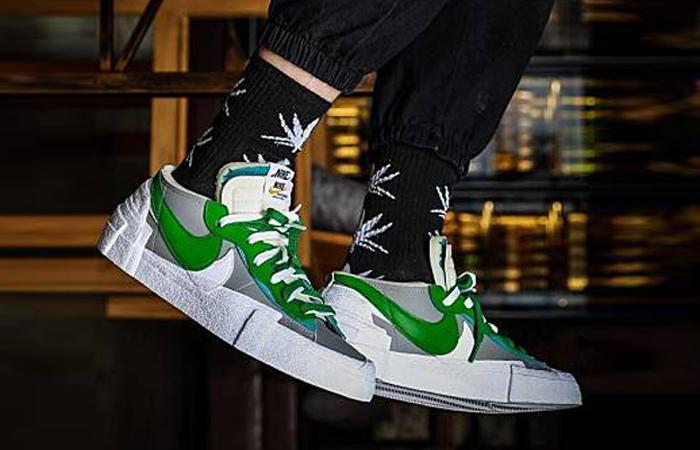 sacai Nike Blazer Low Medium Grey Classic Green DD1877-001 on foot 02