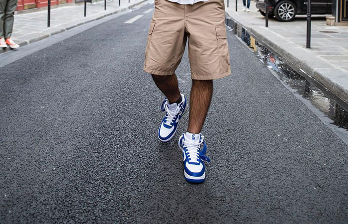 Nike Air Force 1 High EMB Dodgers White Blue DC8168-100 on foot 02