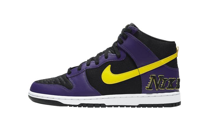 Nike Dunk High EMB Lakers Purple Yellow DH0642-001 01
