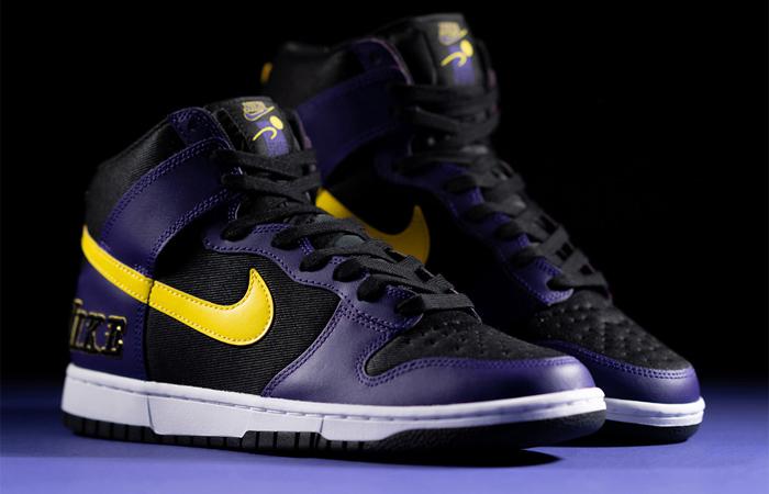 Nike Dunk High EMB Lakers Purple Yellow DH0642-001 02