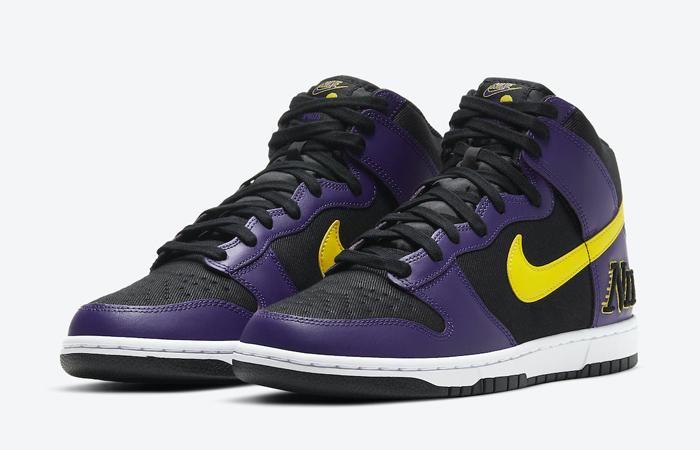 Nike Dunk High EMB Lakers Purple Yellow DH0642-001 05