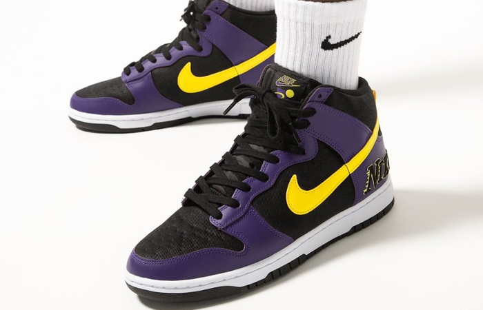 Nike Dunk High EMB Lakers Purple Yellow DH0642-001 on foot 01