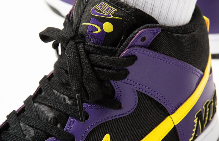 Nike Dunk High EMB Lakers Purple Yellow DH0642-001 on foot 02