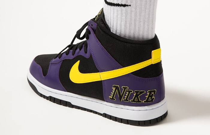 Nike Dunk High EMB Lakers Purple Yellow DH0642-001 on foot 03