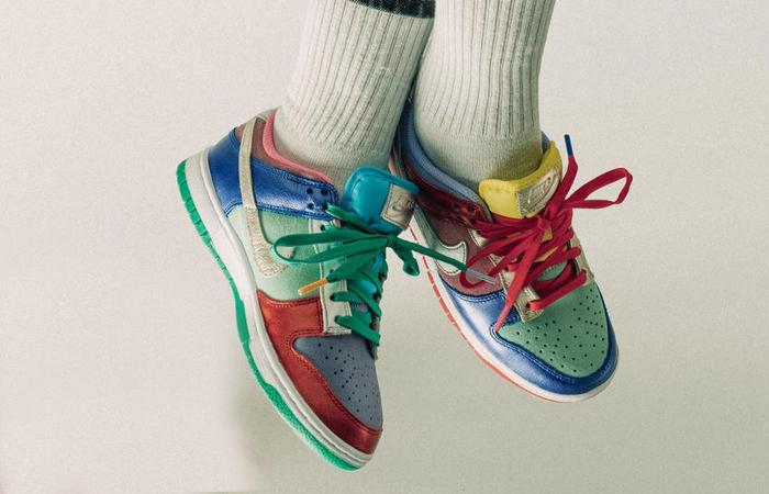 Nike Dunk Low Metallic Mismatch Multi Womens DN0855-600 on foot 01