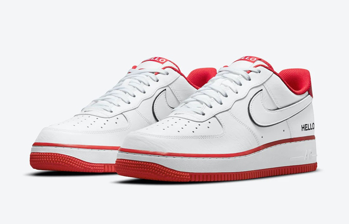 Nike Air Force 1 Hello White University Red CZ0327-100 02
