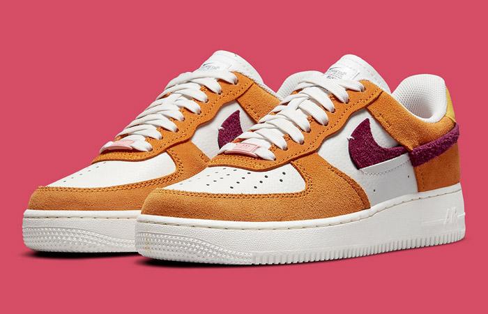 Nike Air Force 1 LXX Orange Maroon Womens DQ0858-100 front corner