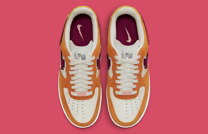 Nike Air Force 1 LXX Orange Maroon Womens DQ0858-100 up