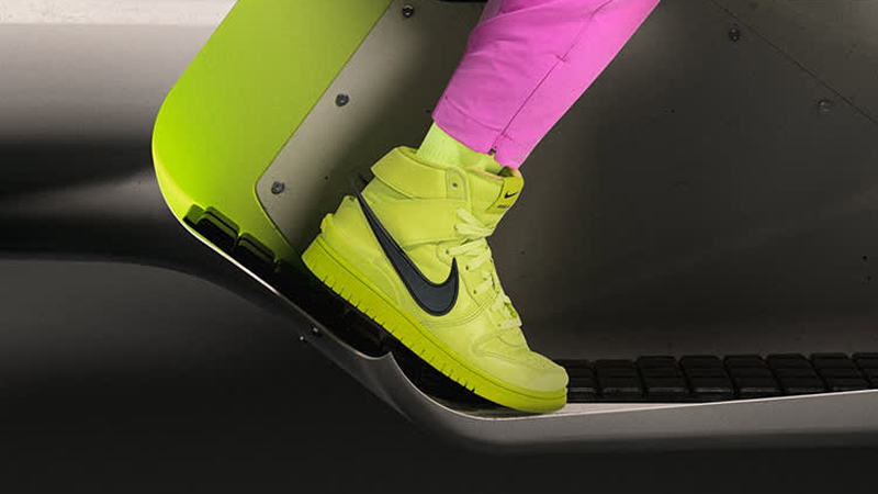 Release Details for Ambush Nike Dunk High Atomic Green Womens on foot 01