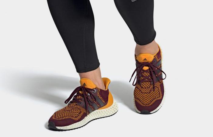 adidas Ultra 4D Maroon Semi Solar Gold FY3960 on foot 01