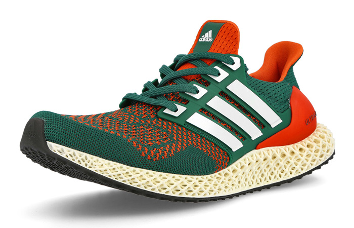 adidas Ultra 4D Miami Green Orange Q46439 front corner