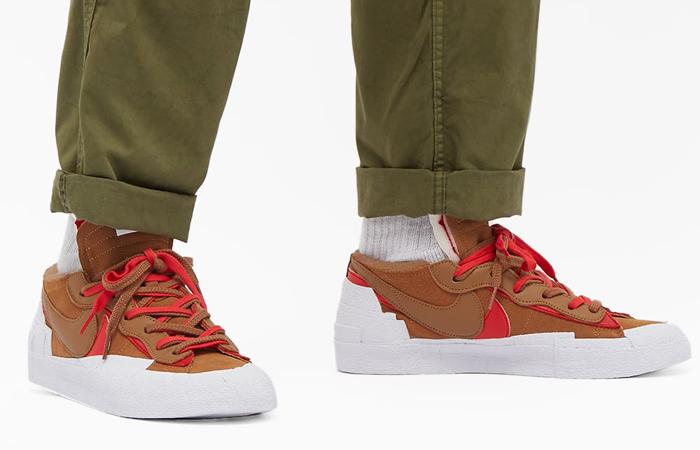 sacai Nike Blazer Low Light British Tan DD1877-200 on foot 02
