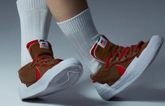 sacai Nike Blazer Low Light British Tan DD1877-200 on foot 03