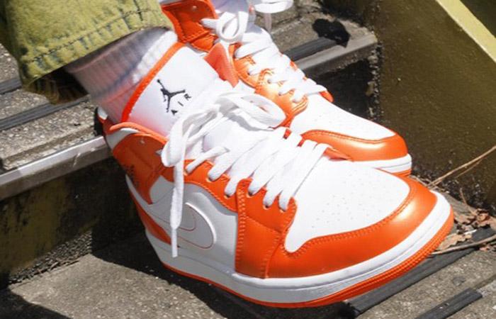 Air Jordan 1 Mid Electro Orange DM3531-800 on foot 01