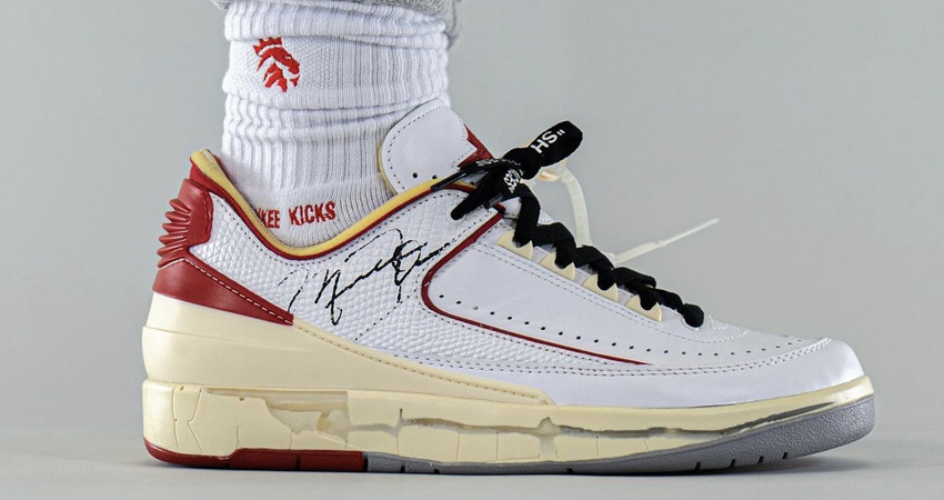 On Foot Take on the Off-White Air Jordan 2 Low White Red 03