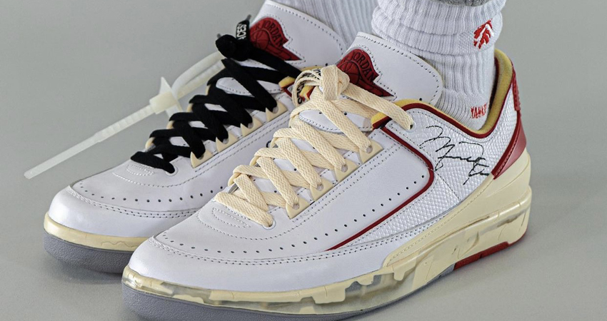 On Foot Take on the Off-White Air Jordan 2 Low White Red featured image