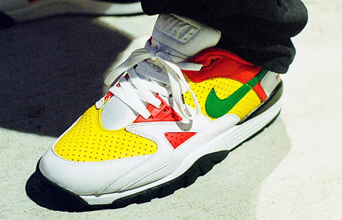 Supreme Nike Cross Trainer Low Multi White on foot 01