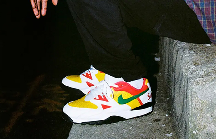 Supreme Nike Cross Trainer Low Multi White on foot 02